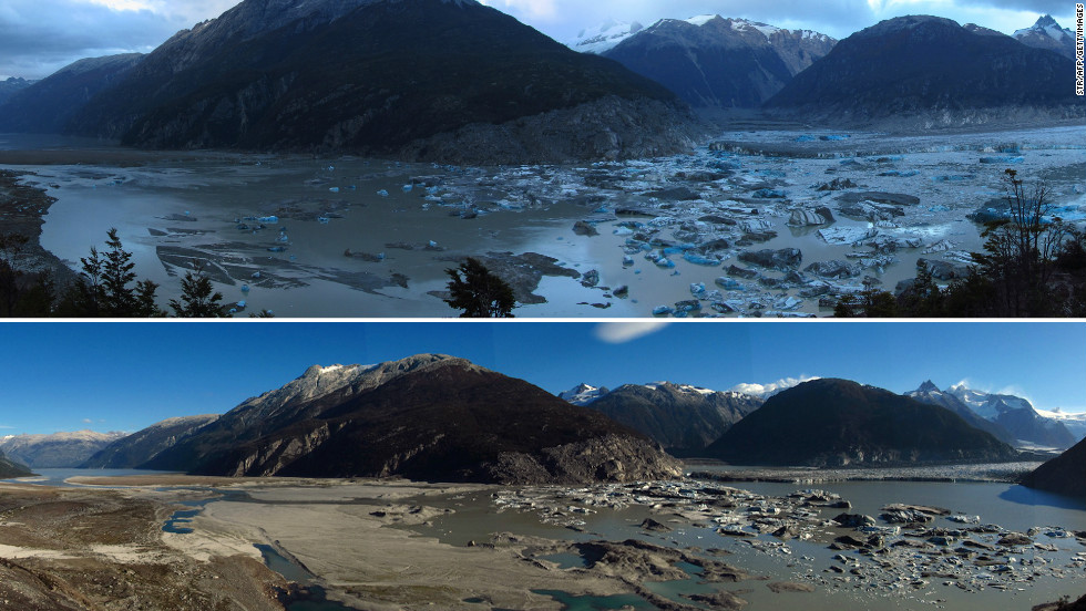 Lake Cachet II in Aysen, Chilean Patagonia, disappeared because of rising temperatures driven by climate change, experts say. (c) CNN