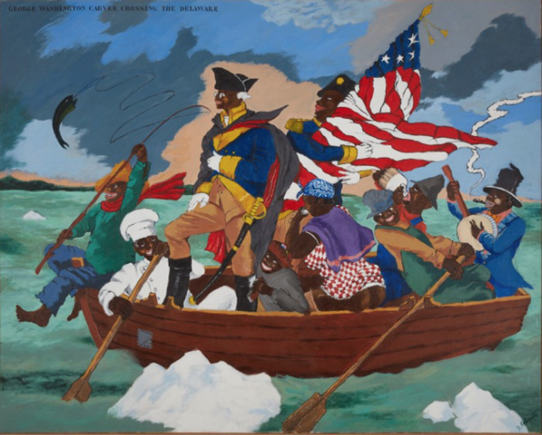 George Washington Carver Crossing the Delaware (1975), to be sold at Sotheby's New York on May 12, is estimated at $9/12 M.