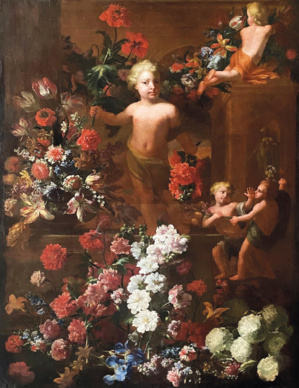 Attributed to Jean-Baptiste Monnoyer (1636–1699), Still Life with Flowers and Putti, a Park Featuring Architectural Elements in the Background, oil on canvas, 171.8 x 122.5 cm/67.64 x 48.22 in. Estimate: €6,000/8,000