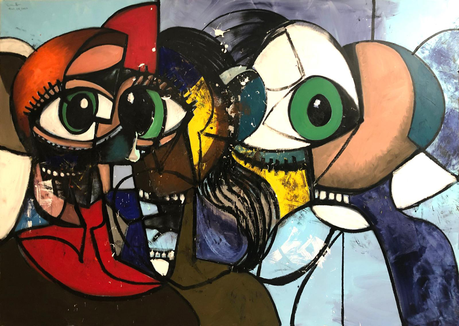 George Condo, Distanced Figures Painting, 2020, oil on canvas. © George Condo, courtesy the artist and Hauser & Wirth