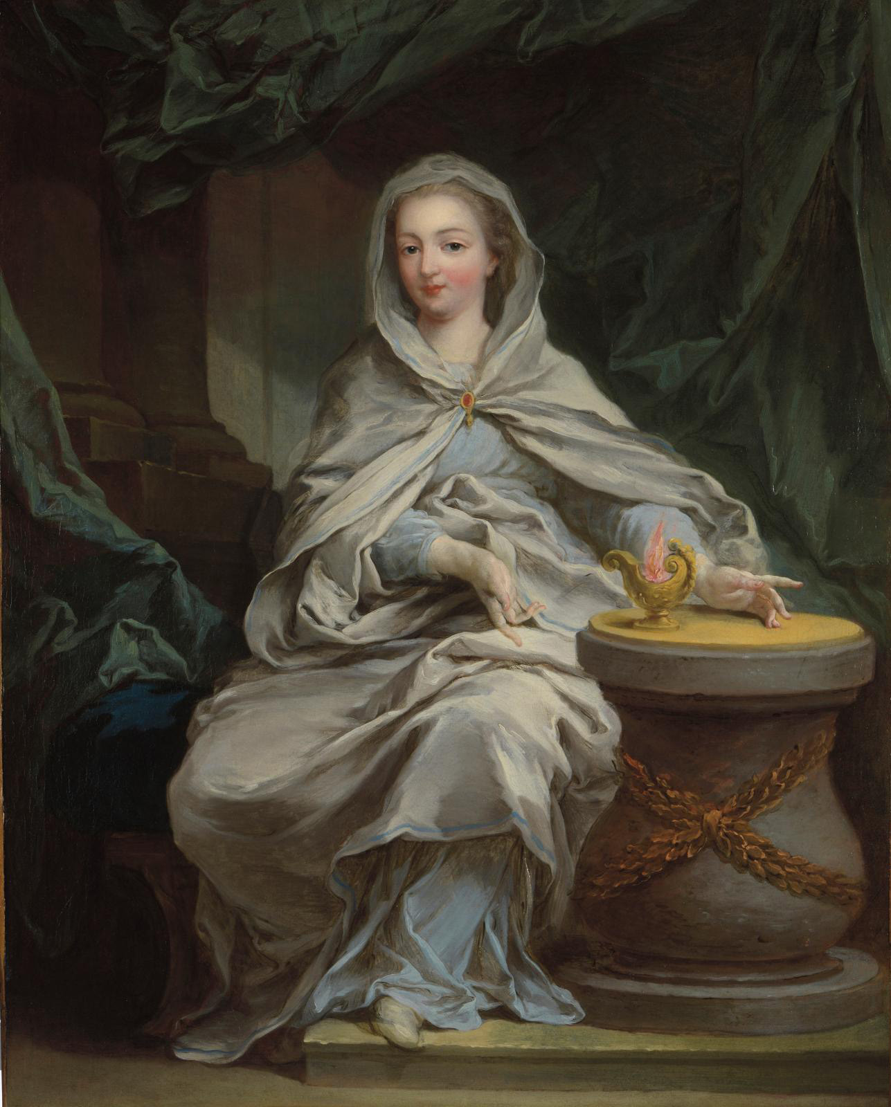 Charles Amédée Philippe Van Loo (1717-1795), Portrait de femme en vestale (Portrait of a Woman as a Vestal). Sold at Fine Arts Paris online. Courtesy Antoine Tarantino, Fine Arts Paris