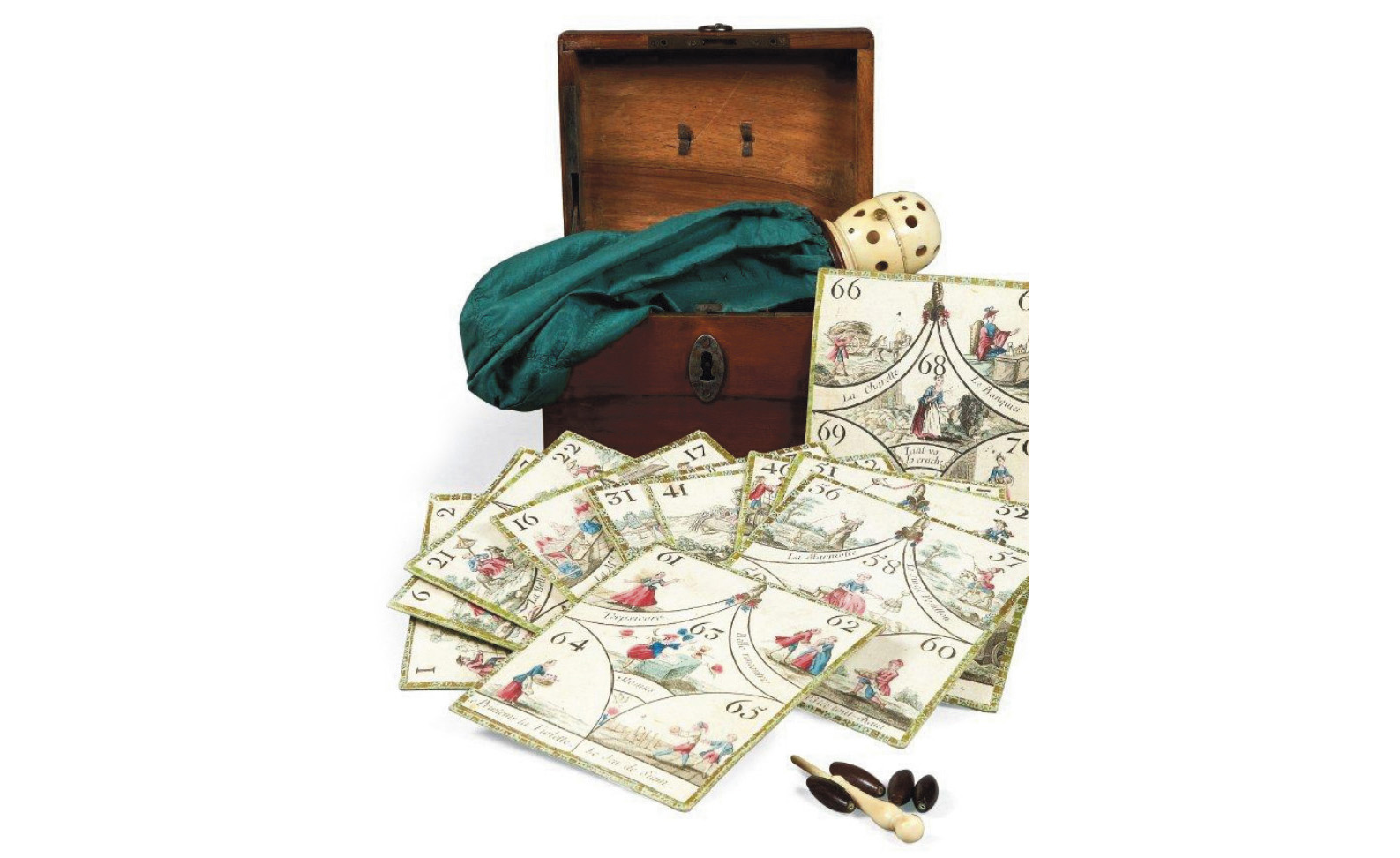 Paris, Aufrère, chess-board maker, Rue Planche Mibrai, c. 1770-1780, cavagnole set in its wooden box, complete with 14 cards with colored engraved decoration, green silk bag with ivory dome, 68 hollow wooden playing pieces and ivory stylus. Paris, Drouot, December 19, 2012. Pierre Bergé & Associés auction house. Mr. Forgeot Sold for €8,000