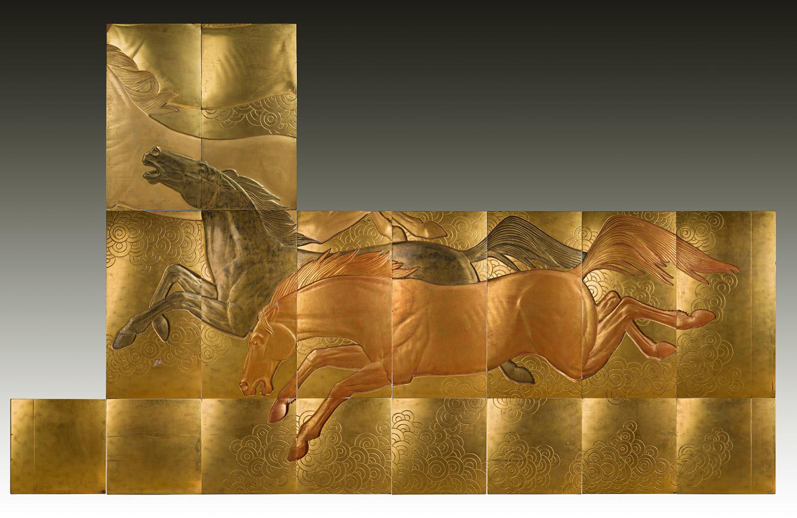 Jean Dunand (1877-1942), La Conquête du cheval, 1935, set of 18 panels in gold and color lacquer carved in low-relief on a base of sabi, for the first-class smoking room of the Normandie. The whole: 311 x 504 cm (approx. 122.4 x 198.4 in) ; separately: 124 x 63 (48.8 x 24.8 in), 63 x 63 (24.8 x 24.8 in), 124 x 16 cm (48.8 x 6.3 in). Estimate: €250,000/300,000
