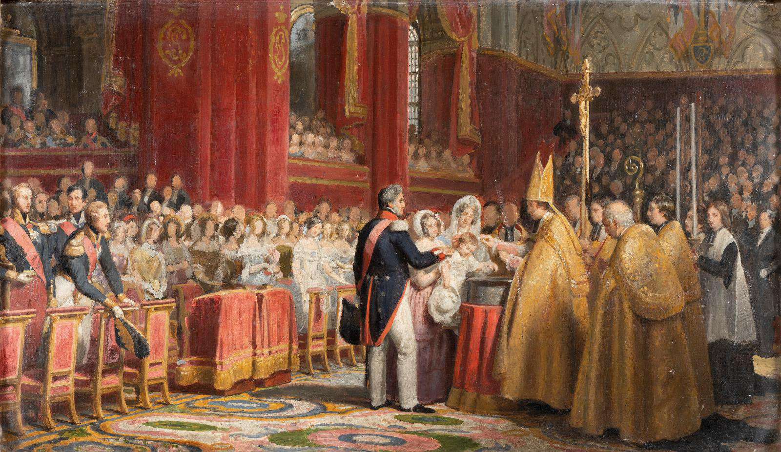 Attributed to Jean-Baptiste Vinchon (1789-1855), The Baptism of His Royal Highness the Comte de Paris at Notre-Dame on May 2, 1841, oil on canvas, 28 x 45 cm (11 x 17.7 in). Paris, Drouot, October 9, 2020. Binoche & Giquello auction house. Mr. Millet. Result: €14,168