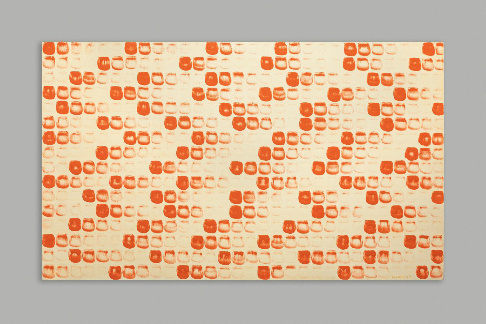 Lee Ufan (b. 1936), From Point (in Paris) n° 770122, 1977, signed lower right and dated, titled on the reverse, countersigned and located in Paris, orange pigment bound with glue, light orange primer, on canvas, 64 x 108 cm (25.1 x 42.5 in). © Adagp, Paris, 2021