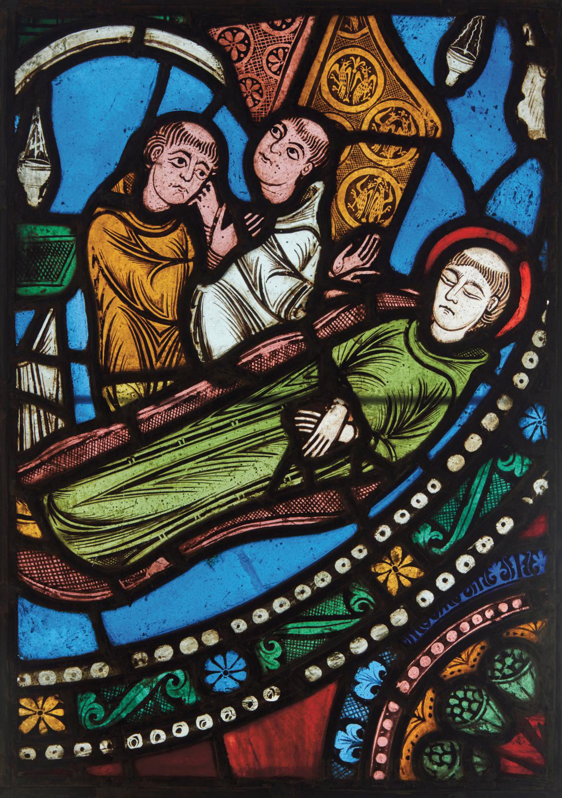 France, c. 1140-1144. Two monks watching over the body of Saint Benedict, stained glass, 44.4 x 31.3 cm (17.49 x 12.33 in). Photo Pierre Bergé & Associés