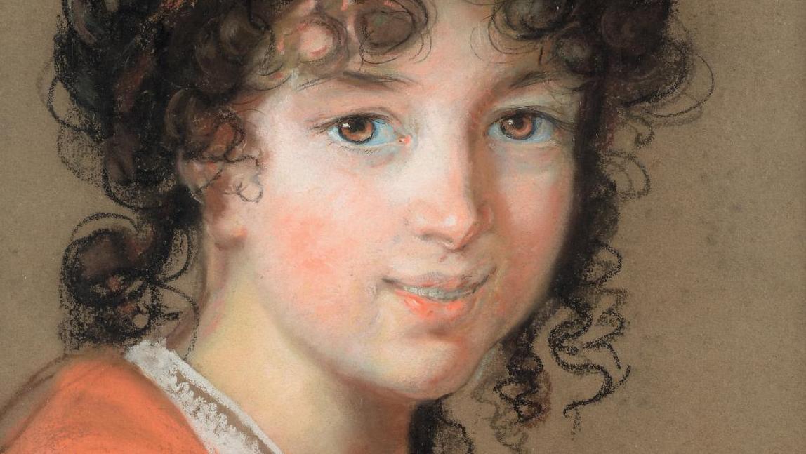 Élisabeth Vigée-Lebrun (1755-1842), Portrait of a Young Woman in a Red Dress, Presumed to be Caroline de Rivière, pastel, 43.5 x 32 cm (17.1 x 12.6 in). Paris, Drouot, March 23, 2018. Maigret (Thierry de) auction house. Mr Millet. Result: €264,440