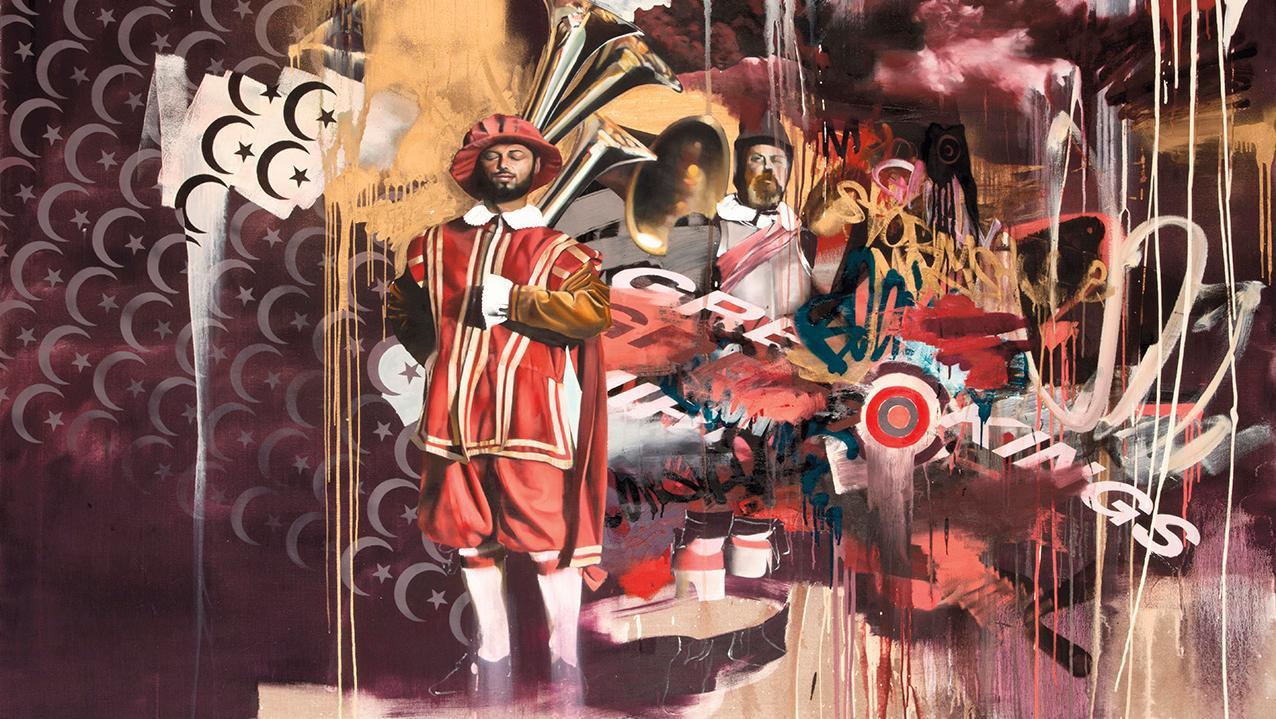 Conor Harrington (born 1980), Holy Smoke Quintet (Part Four), 2010, oil, acrylic and spray paint on canvas, 152 x 213 cm (59.85 x 83.86 in). Estimate: €45,000/70,000