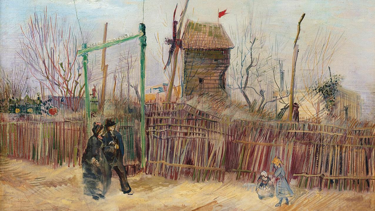 Vincent Van Gogh (1853-1890), Scène de rue à Montmartre (Impasse des Deux Frères et le moulin à Poivre) Street scene in Montmartre (Impasse des Deux Frères and the Pepper-grinding Mill), 1887, oil on canvas, 46.1 x 61.3 cm/18.1 x 24.1 in. Thursday, March 25, Galerie Charpentier. Mirabaud-Mercier auction house, Sotheby's France auction house Result: €13,091,250