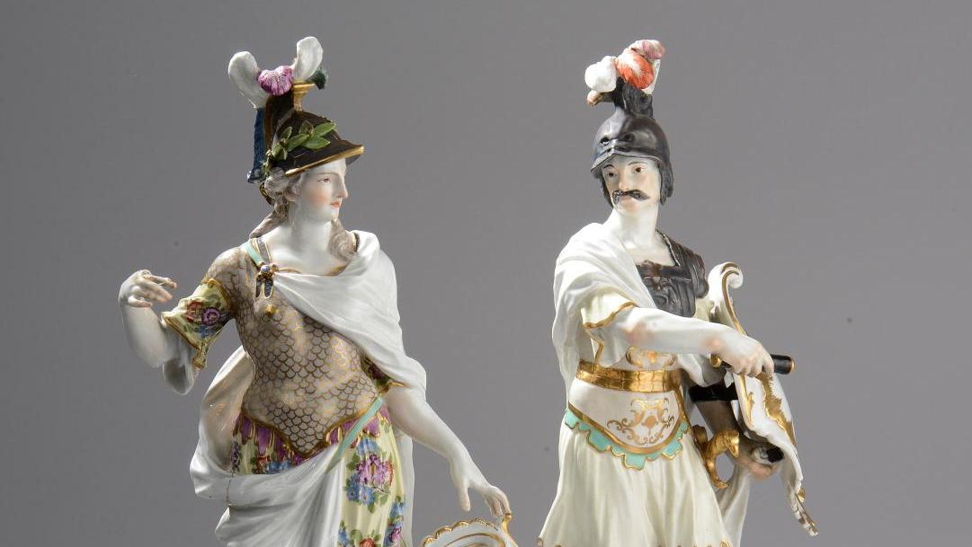 €18,600 Pair of standing figures of armored Mars and Minerva, c. 1750-1755, porcelain, h. 43 cm and 41.5 cm/16.92 x 16.33 in. Saint-Cloud, February 9, 2014. Le Floc'h auction house. Mr. Froissart