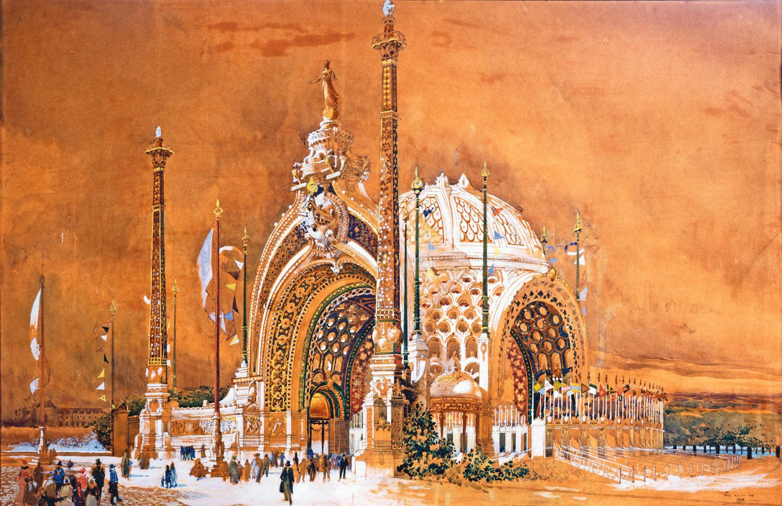 René Binet, Design for the Monumental Door of the 1900 Universal Exhibition, 1898, watercolor, 62 x 95 cm/24.4 x 37.4 in, Musées de Sens.