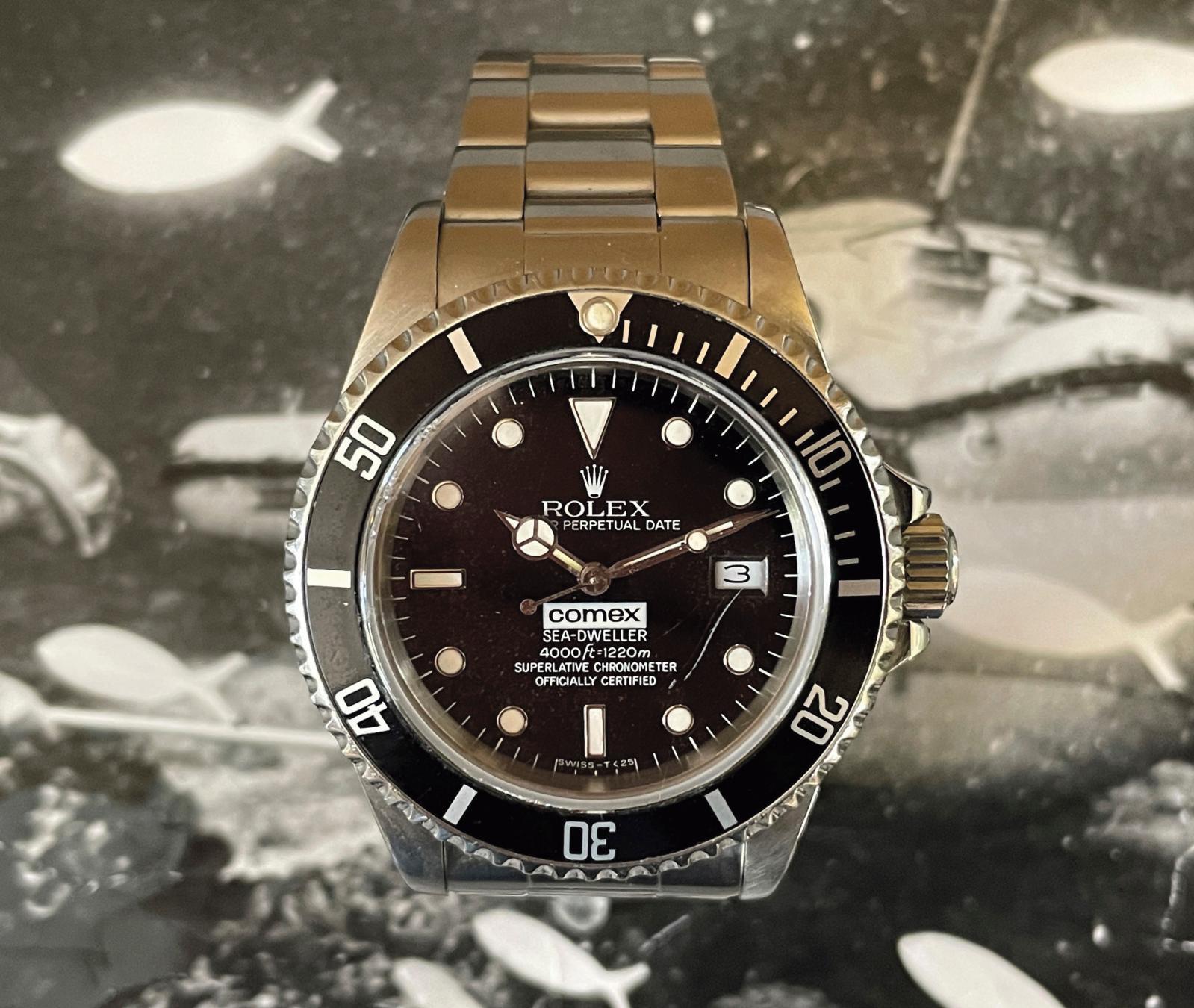 "Rolex ""Sea-Dweller Comex 4000 ft=1220m 3151"", reference 16660, no. 9304600, diver's wristwatch in steel, diam. 4 cm/1.57 in. Estimate: €50,000/70,000"