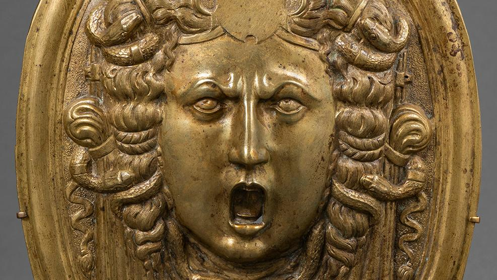 Northern Italy (Milan?), oval plaque on a ceremonial shield depicting Medusa, second half of the 16th century, bronze with very slight traces of gilding. © Christophe Fouin/Galerie Sismann