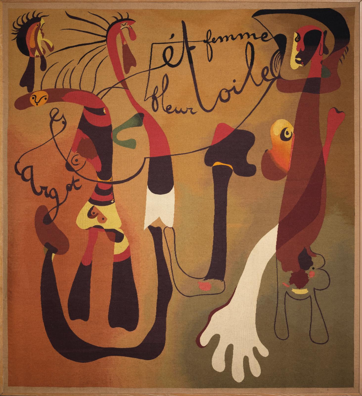 Joan Miró (1893-1983), Escargot, femme, fleur et étoile (Snail, Woman, Flower and Star), 1934-1936, tapestry woven by hand under the direction of Marie Cuttoli. Atelier Delarbre, 200 x 172 cm/78.74 x 67.71 in. © Successió Miró/Adagp, Paris, 2021 Estimate: €100,000/150,000