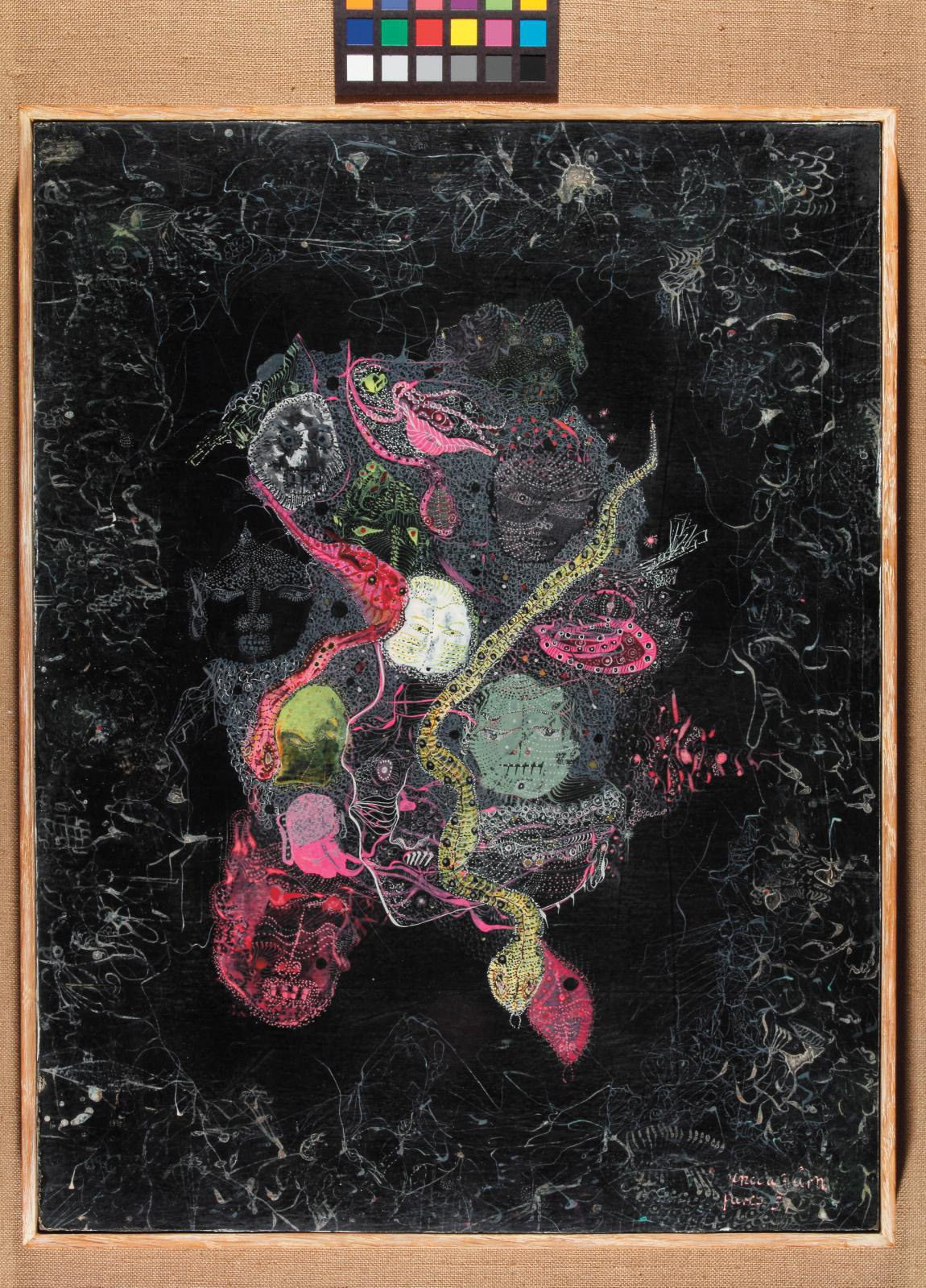 Unica Zürn (1916-1970), Untitled, Paris, 1957, oil on paper mounted on wood, 40.9 x 30.8 cm (16.10 x 12.12 in). Courtesy Ubu Gallery, New York