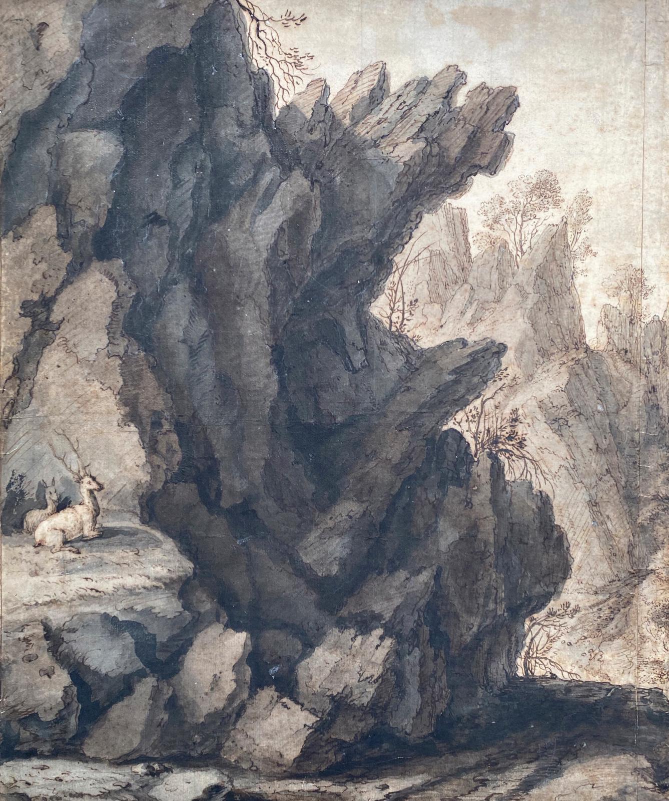 Lambert Doomer (1624–1700), Mountain Landscape, pen and brown ink, grey and brown wash, 44 x 37 cm/17.32 x 14.56 in. Galerie Benjamin Peronnet. © Benjamin Peronnet, Paris