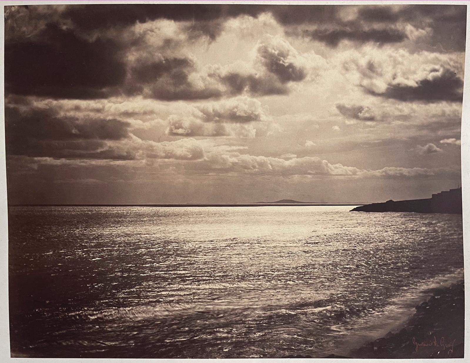 Gustave Le Gray (1820–1884), La Mer Méditerranée à Cette [Sète] (The Mediterranean Sea at Cette [Sète]), 1857, albumin print, red signature stamp and dry stamp on the mount, label with the title, 32.1 x 41.7 cm/12.64 x 16.42 in. Estimate: €15,000/20,000