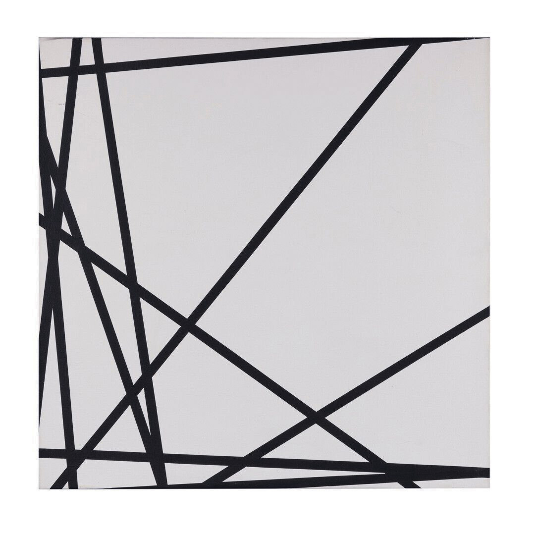 François Morellet (1926–2016), Dix lignes au hasard (Ten Random Lines), 1975, acrylic on canvas, signed, dated and numbered 6/10 on the back, 60 x 60 cm/23.62 x 23.62 in. Estimate: €20,000/30,000