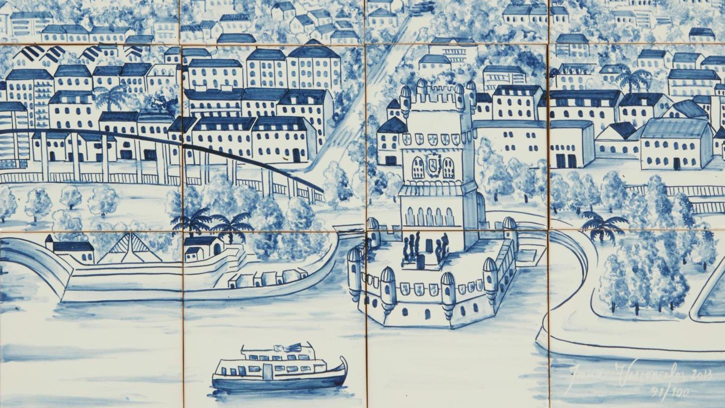 Joana Vasconcelos (born 1971), Trafaria Praia, large panorama of 21st-century Lisbon (Belém Tower), 2013. Hand-painted azulejos, signed, dated and numbered on tile 95/100. Fired by Dilecta, 42 x 56 cm/16.54 x 22.05 in (14 x 14 cm/5.51 x 5.51 each tile). Paris, Drouot, June 22, 2015. Millon Auction House. Result: €3,900