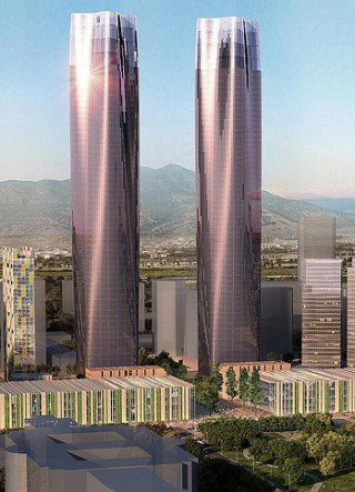 China's Twin Towers has Largest LED Wall in The World