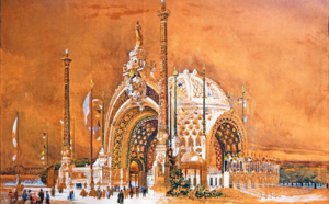René Binet, Design for the Monumental Door of the 1900 Universal Exhibition, 1898, watercolor, 62 x 95 cm/24.4 x 37.4 in, Musées de Sens.